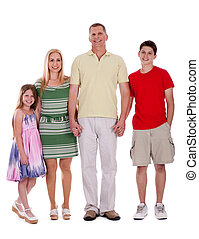 happy family standing by holding their hands and looking at...