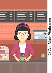 Woman making coffee vector illustration - An asian young...