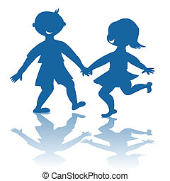 Blue children smiling silhouettes