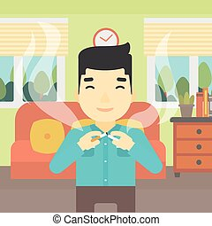 Young man quitting smoking vector illustration - An asian...