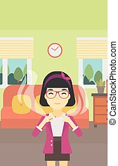 Young woman quitting smoking vector illustration. - An asian...
