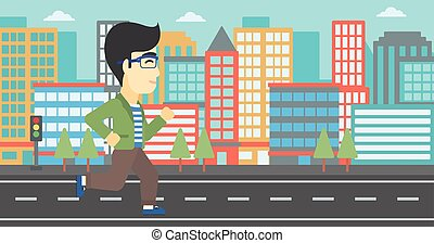 Young man running vector illustration. - An asian young man...