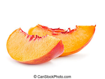 Nectarine peach family fruit isolated on white