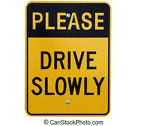 slow down warning sign isolated with clipping path at this...