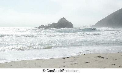 Beach California waves and mist - Beach California shot of...