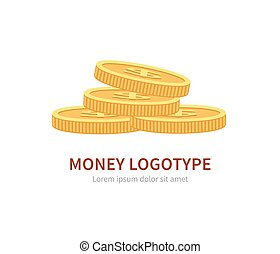 Flat vector logo stack of coins isolated on white - Flat...