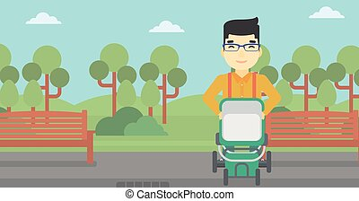 Father walking with baby stroller.