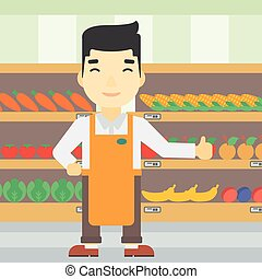 Friendly supermarket worker vector illustration. - An asian...
