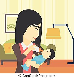 Mother feeding baby vector illustration.