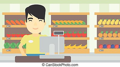 Cashier standing at the checkout in supermarket. - An asian...