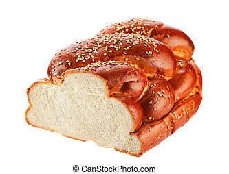 Challah bread isolated on white