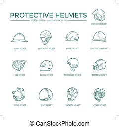 Protective Helmets Icons - Sport, safety, construction and...