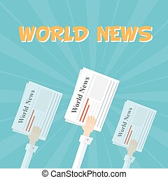 World News. Outstretched hand with papers. The financial and...