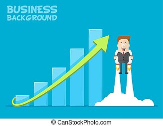 Happy businessman or manager flying on jetpacks to his goal. The growth of the economy. Investments up. A man in  business suit with  tie  . Vector cartoon illustration   plane.