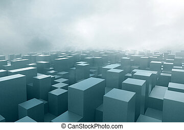 Cubes in fog - Abstract cubes in fog 3D Rendering