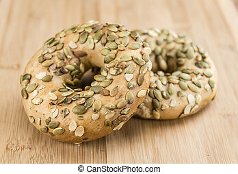 Wholemeal Bagels selective focus - Wholemeal Bagels...