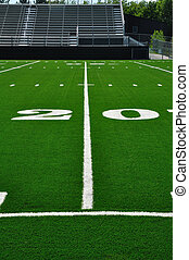 20 Yard Line on American Football Field with Bleachers