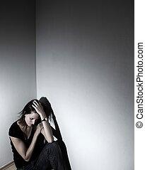 jovem, mulher, sofrimento, severo, depressão, (very,...