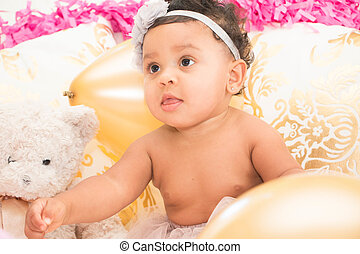 Baby Girl Sitting With Pillows and Balloons - Cute Baby Girl...