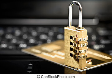 data protection padlock laptop - Data security concept with...