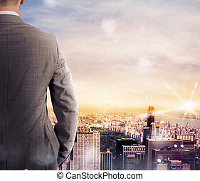 Vision of business success - Businessman looks at the...