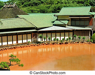 Earth hot pond - Thremal hot pond in Japan, the hells hot...