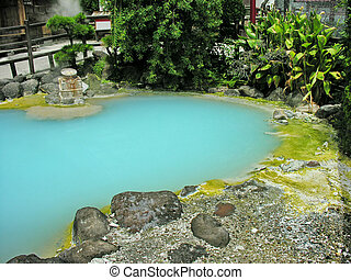 Blue Thermal - deep azure thermal hot pond with a boiled egg...