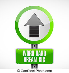 work hard dream big arrow road sign concept