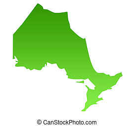 Ontario map - Map of Canadian province of Ontario in green,...