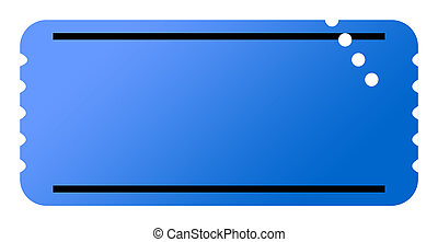 Blank ticket - Blue ticket with copy space, isolated on...