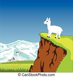 Mountain landscape with animal - The Picturesque mountain...