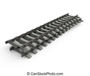 Few rails - Three 3D rails on white background