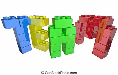 Team Building Exercise Project Task Blocks Teamwork 3d Illustration
