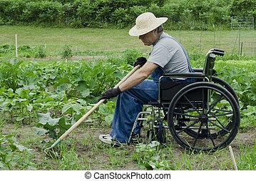 handicapped man in his garden