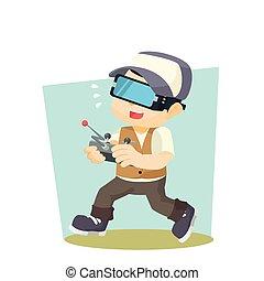 boy playing virtual reality