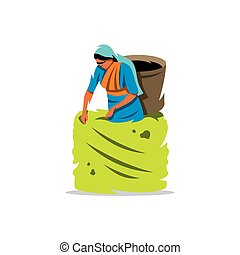 Vector Tea Picker Cartoon Illustration. - Woman with a...