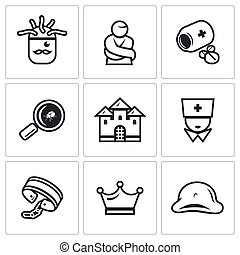 Vector Set of Nuthouse Icons. Diagnosis, Straitjacket, Treatment, Study, Building, Doctor, Bondage, Persistence, Split Personality.
