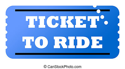 Ticket to ride - Blue used ticket to ride, isolated on white...