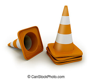 Few road cones isolated on white
