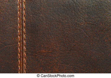 brown leather with seam
