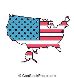 usa map with flag isolated icon design