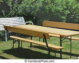 Beer bench set table and bench with backrest