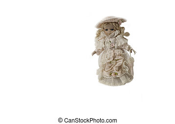 Porcelain doll in a smart dress - Porcelain doll in an old...
