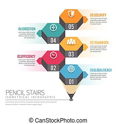 Isometric Pencil Stairs Infographic - Vector illustration of...