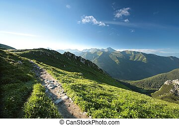 Tatra Mountains at dawn - Peaks in Tatra Mountains on the...