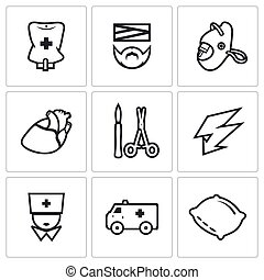Vector Set of Hospital Icons - Pipette, Disabled, Oxygen,...