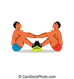 Tug of stick. Yakut Sports. Vector Cartoon Illustration.