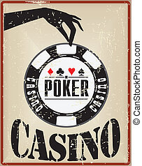Vintage card with a poker chip in the casino.