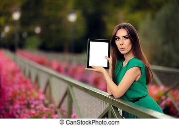 Surprised Woman Showing a Tablet