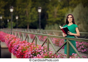 Woman Reading a Book - Portrait of a intellectual girl...